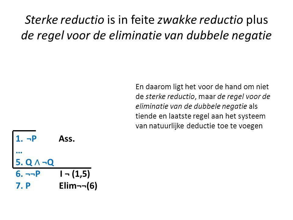 Sterke reductio is in feite zwakke reductio plus de regel voor de eliminatie van dubbele negatie 1.¬P Ass. … 5. Q ∧ ¬Q 6. ¬¬P I ¬ (1,5) 7. P Elim¬¬(6)