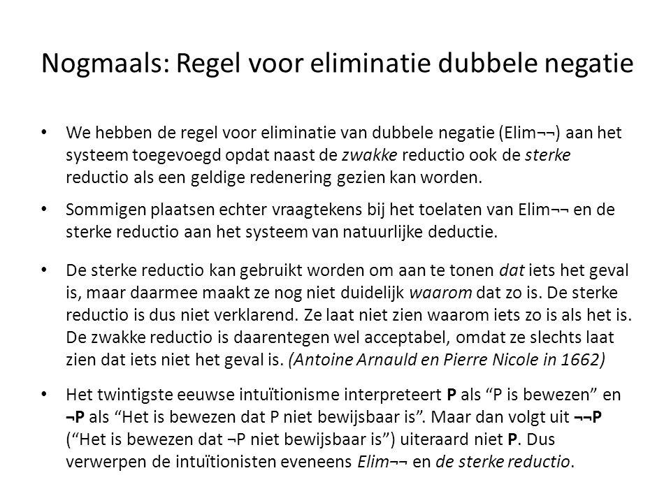 Nogmaals: Regel voor eliminatie dubbele negatie • We hebben de regel voor eliminatie van dubbele negatie (Elim¬¬) aan het systeem toegevoegd opdat naa