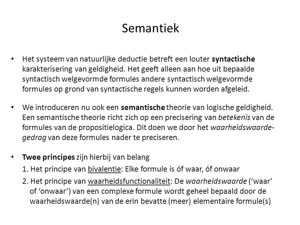 Semantiek • Het systeem van natuurlijke deductie betreft een louter syntactische karakterisering van geldigheid. Het geeft alleen aan hoe uit bepaalde
