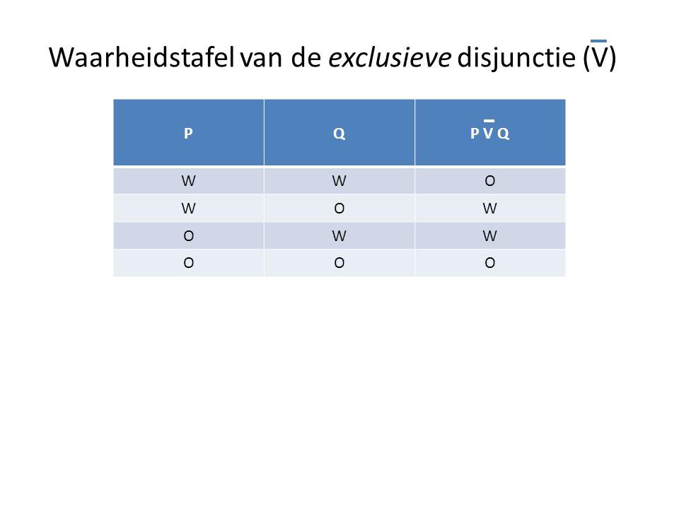 Waarheidstafel van de exclusieve disjunctie (V) PQP V Q WWO WOW OWW OOO
