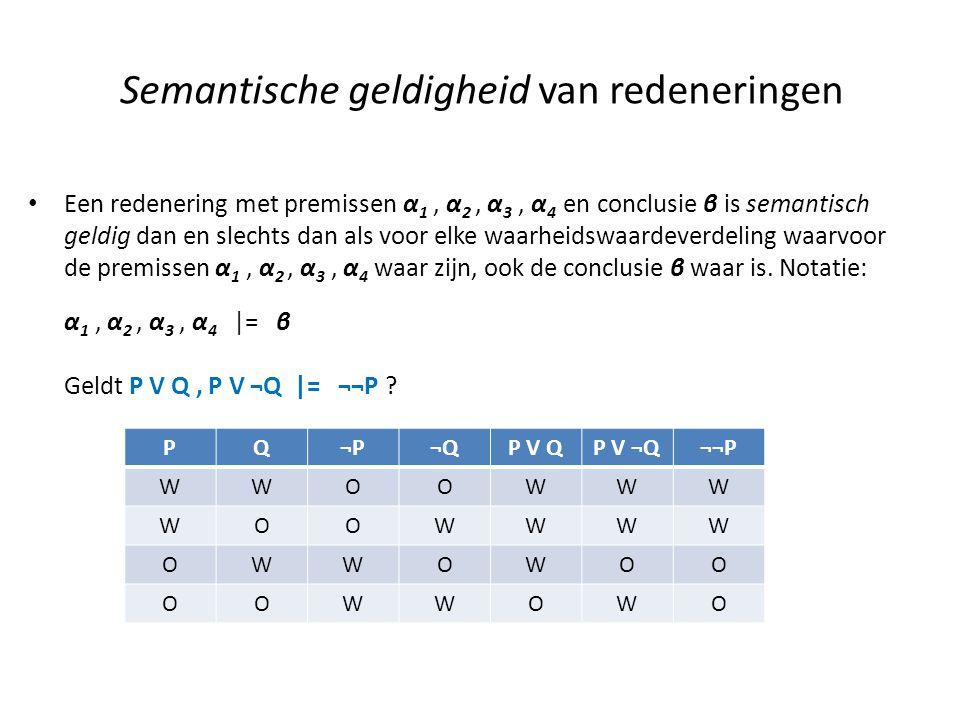 Semantische geldigheid van redeneringen • Een redenering met premissen α 1, α 2, α 3, α 4 en conclusie β is semantisch geldig dan en slechts dan als v