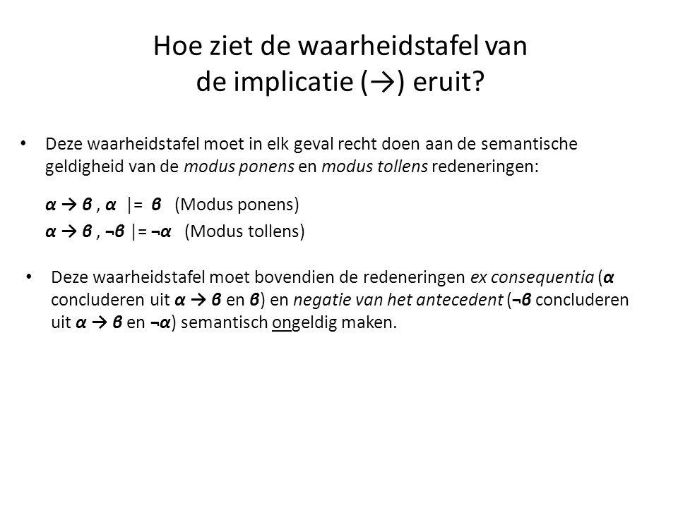 Hoe ziet de waarheidstafel van de implicatie (→) eruit? • Deze waarheidstafel moet in elk geval recht doen aan de semantische geldigheid van de modus