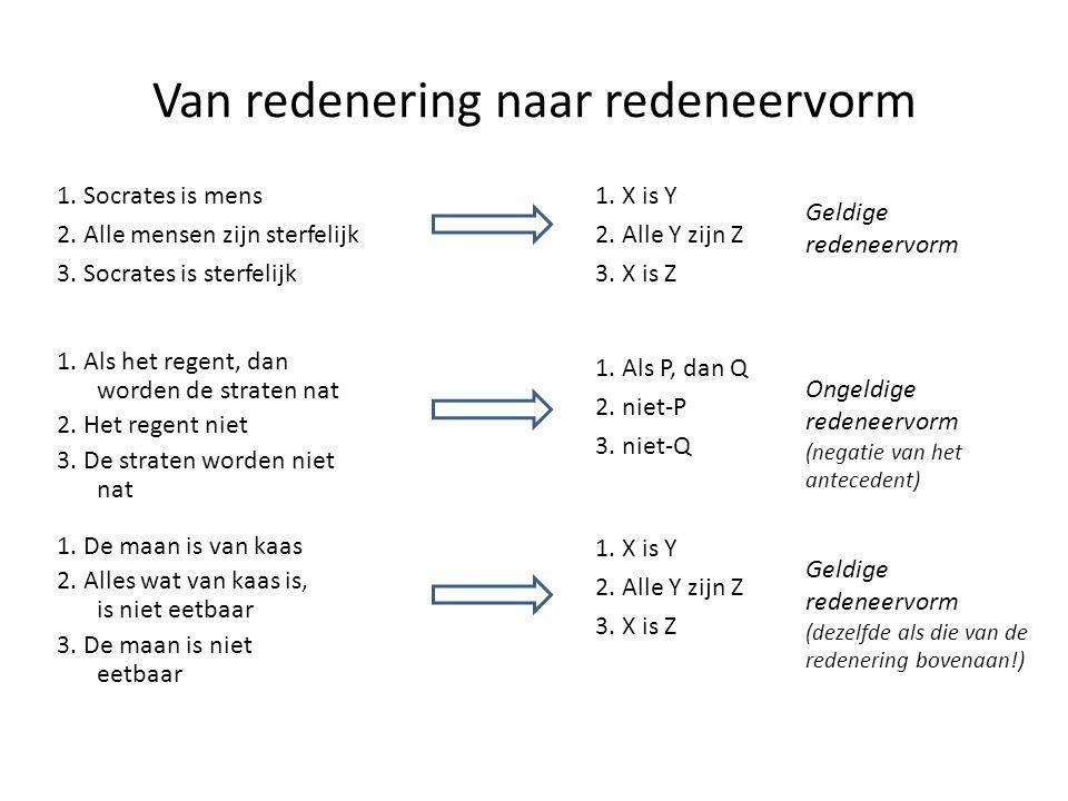 Relaties in de predikaatlogica Jan is groter dan Piet Gjp Gxy: x is groter dan y j: Jan p: Piet België ligt tussen Nederland en Frankrijk Txyz: x ligt tussen y en z n: Nederland b: België f: Frankrijk Tbnf Iedereen die van Jan wint is heel sterk ∀ x (Wxj → Sx) j: Jan Wxy: x wint van y Sx: x is heel sterk Niets veroorzaakt zichzelf Oxy: x veroorzaakt y ∀ x ¬Oxx Als iets iets anders veroorzaakt, dan is het eerder dan dat andere Oxy: x veroorzaakt y Exy: x is eerder dan y ∀ x ∀ y (Oxy → Exy)