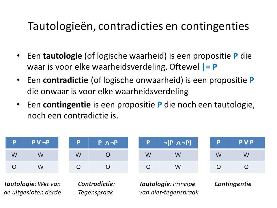 Tautologieën, contradicties en contingenties • Een tautologie (of logische waarheid) is een propositie P die waar is voor elke waarheidsverdeling. Oft