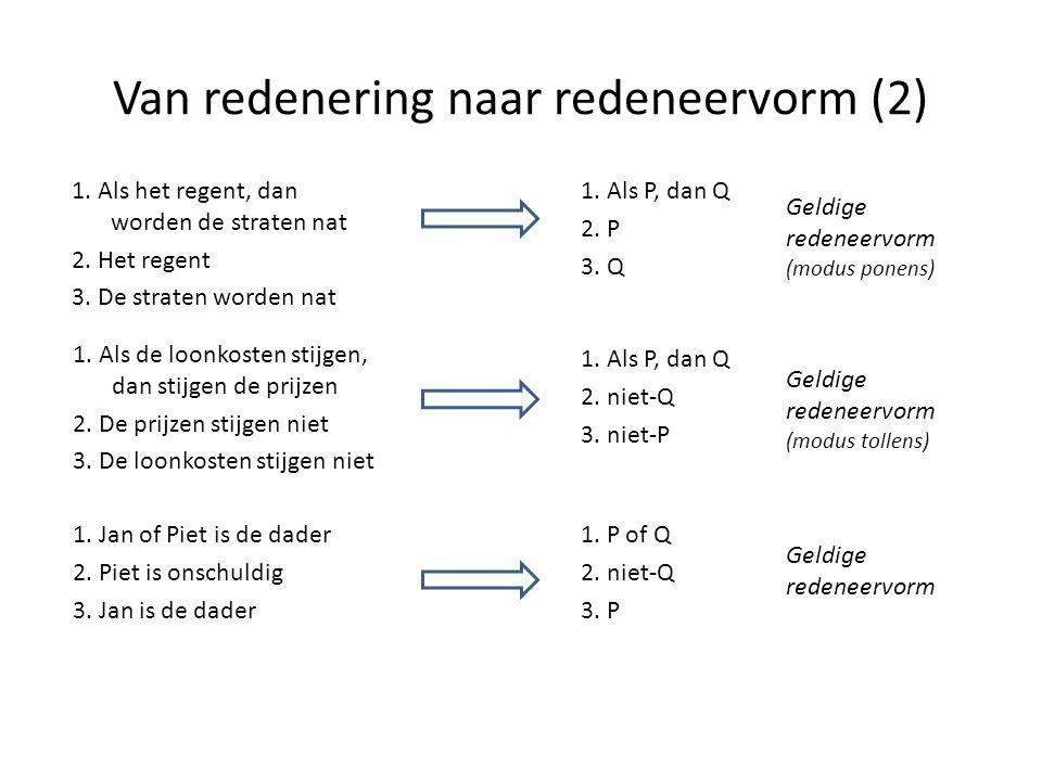 Van redenering naar redeneervorm (2) 1. Als P, dan Q 2. P 3. Q Geldige redeneervorm (modus ponens) 1. Als P, dan Q 2. niet-Q 3. niet-P Geldige redenee