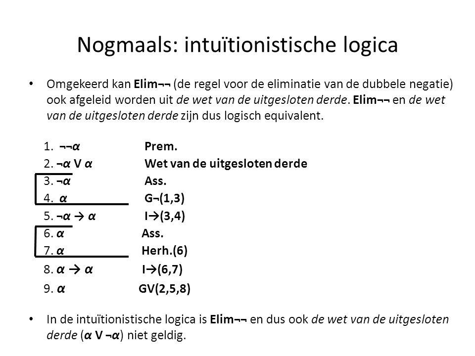 Nogmaals: intuïtionistische logica • Omgekeerd kan Elim¬¬ (de regel voor de eliminatie van de dubbele negatie) ook afgeleid worden uit de wet van de u