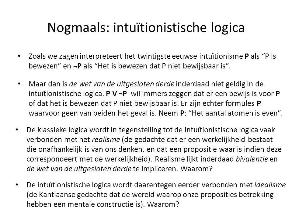 """Nogmaals: intuïtionistische logica • Zoals we zagen interpreteert het twintigste eeuwse intuïtionisme P als """"P is bewezen"""" en ¬P als """"Het is bewezen d"""