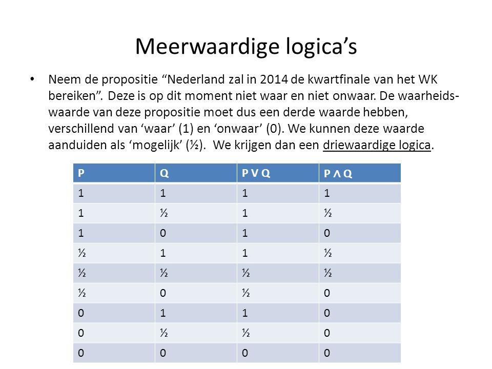 """Meerwaardige logica's • Neem de propositie """"Nederland zal in 2014 de kwartfinale van het WK bereiken"""". Deze is op dit moment niet waar en niet onwaar."""