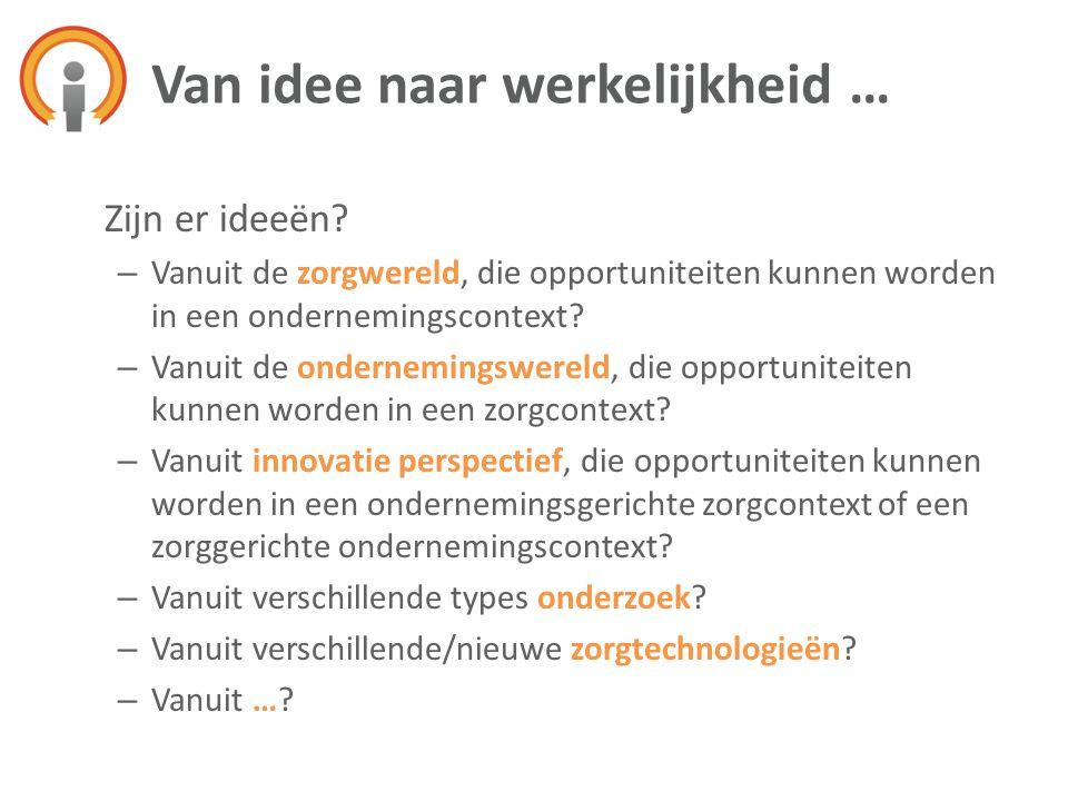 Zijn er ideeën? – Vanuit de zorgwereld, die opportuniteiten kunnen worden in een ondernemingscontext? – Vanuit de ondernemingswereld, die opportunitei