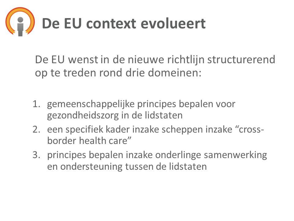 De EU wenst in de nieuwe richtlijn structurerend op te treden rond drie domeinen: 1.gemeenschappelijke principes bepalen voor gezondheidszorg in de li