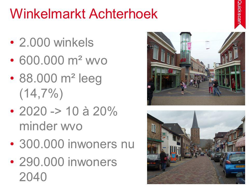 •2.000 winkels •600.000 m² wvo •88.000 m² leeg (14,7%) •2020 -> 10 à 20% minder wvo •300.000 inwoners nu •290.000 inwoners 2040 Winkelmarkt Achterhoek