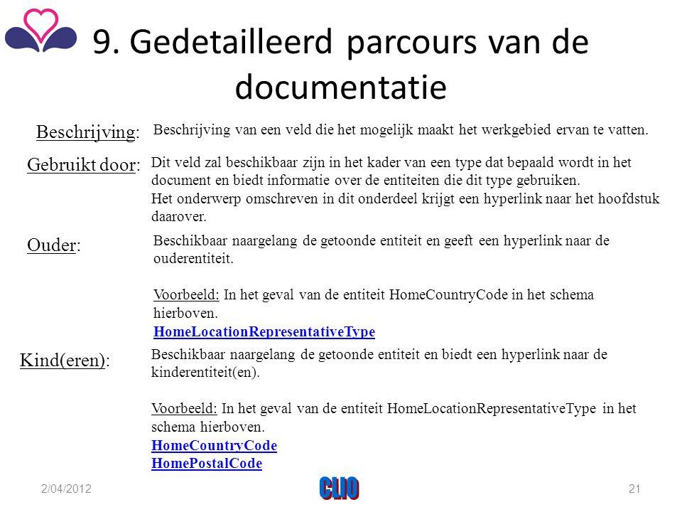 9. Gedetailleerd parcours van de documentatie Gebruikt door: Dit veld zal beschikbaar zijn in het kader van een type dat bepaald wordt in het document