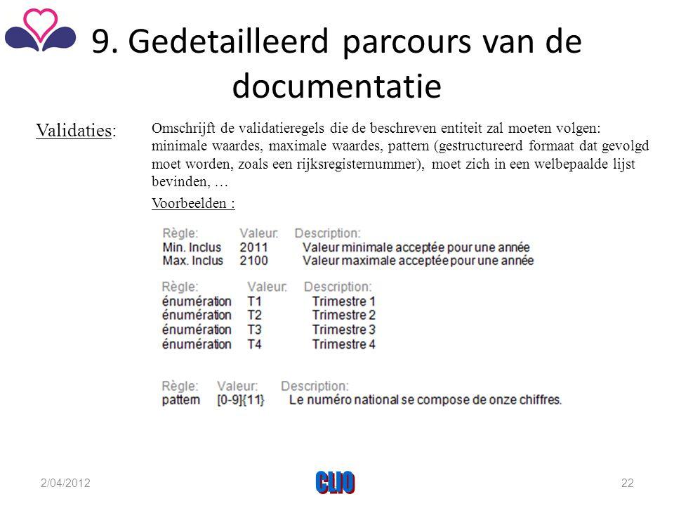 9. Gedetailleerd parcours van de documentatie Validaties: Omschrijft de validatieregels die de beschreven entiteit zal moeten volgen: minimale waardes
