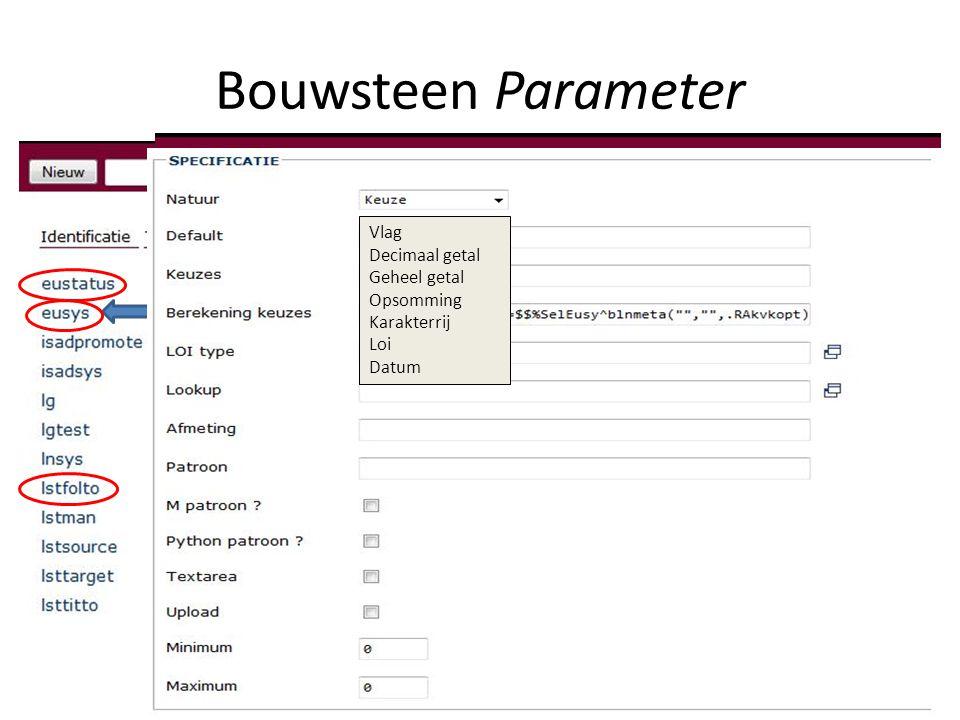 Bouwsteen Parameter Vlag Decimaal getal Geheel getal Opsomming Karakterrij Loi Datum
