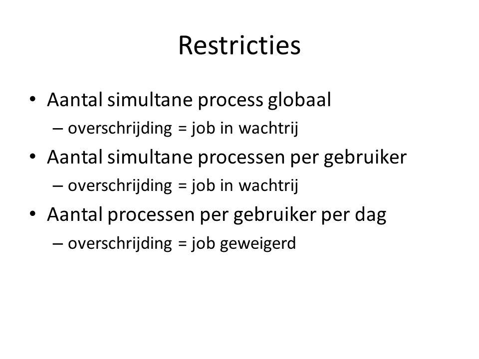 Restricties • Aantal simultane process globaal – overschrijding = job in wachtrij • Aantal simultane processen per gebruiker – overschrijding = job in