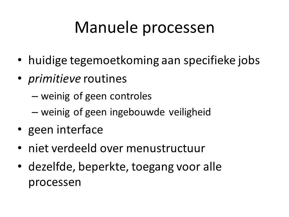 Manuele processen • huidige tegemoetkoming aan specifieke jobs • primitieve routines – weinig of geen controles – weinig of geen ingebouwde veiligheid