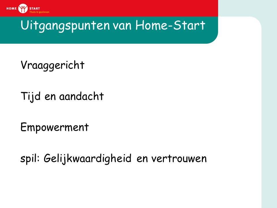 Uitgangspunten van Home-Start Vraaggericht Tijd en aandacht Empowerment spil: Gelijkwaardigheid en vertrouwen