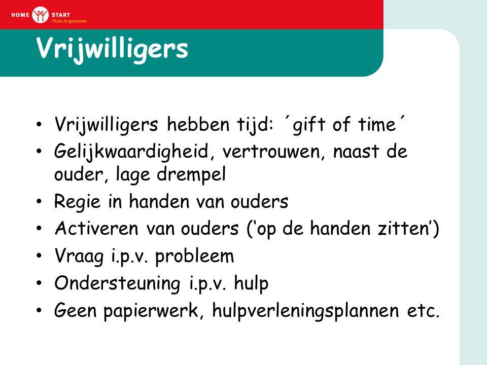 Vrijwilligers • Vrijwilligers hebben tijd: ´gift of time´ • Gelijkwaardigheid, vertrouwen, naast de ouder, lage drempel • Regie in handen van ouders •