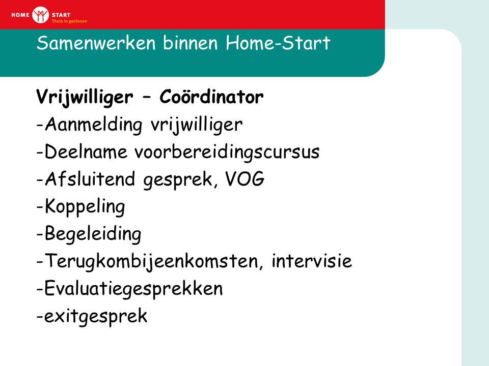 Samenwerken binnen Home-Start Vrijwilliger – Coördinator -Aanmelding vrijwilliger -Deelname voorbereidingscursus -Afsluitend gesprek, VOG -Koppeling -