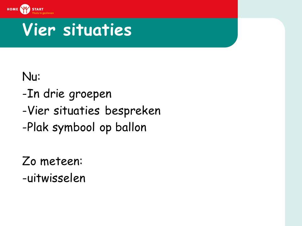 Vier situaties Nu: -In drie groepen -Vier situaties bespreken -Plak symbool op ballon Zo meteen: -uitwisselen