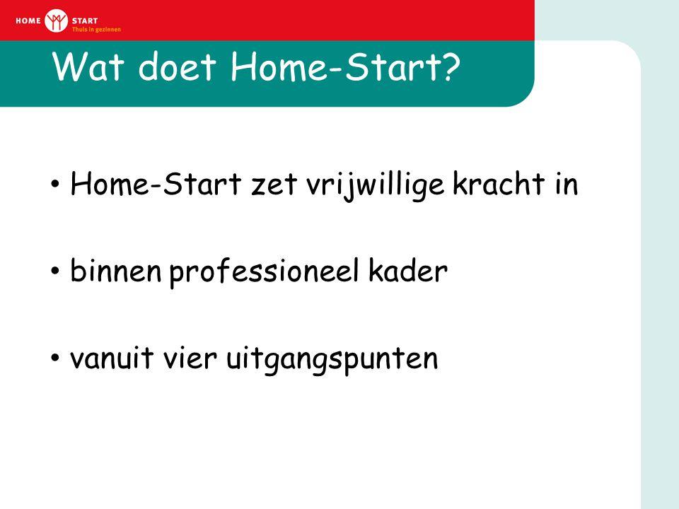 Wat doet Home-Start? • Home-Start zet vrijwillige kracht in • binnen professioneel kader • vanuit vier uitgangspunten