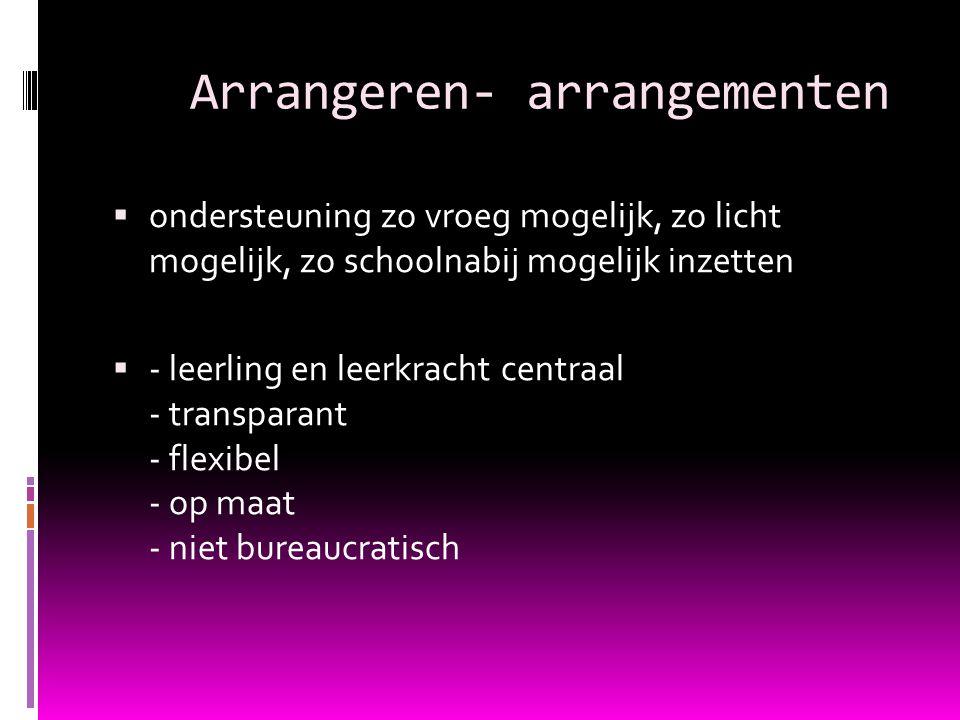 Arrangeren- arrangementen  ondersteuning zo vroeg mogelijk, zo licht mogelijk, zo schoolnabij mogelijk inzetten  - leerling en leerkracht centraal - transparant - flexibel - op maat - niet bureaucratisch