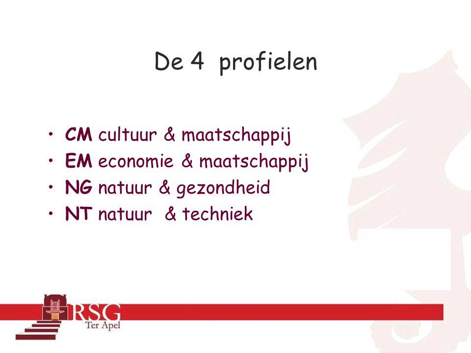 De 4 profielen •CM cultuur & maatschappij •EM economie & maatschappij •NG natuur & gezondheid •NT natuur & techniek