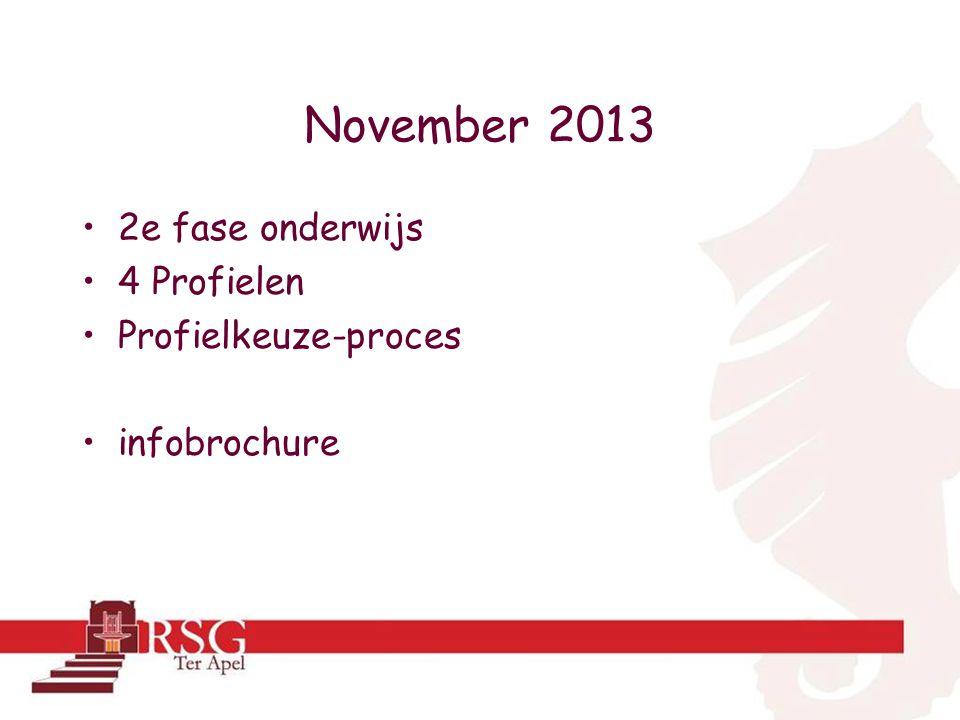 November 2013 •2e fase onderwijs •4 Profielen •Profielkeuze-proces •infobrochure