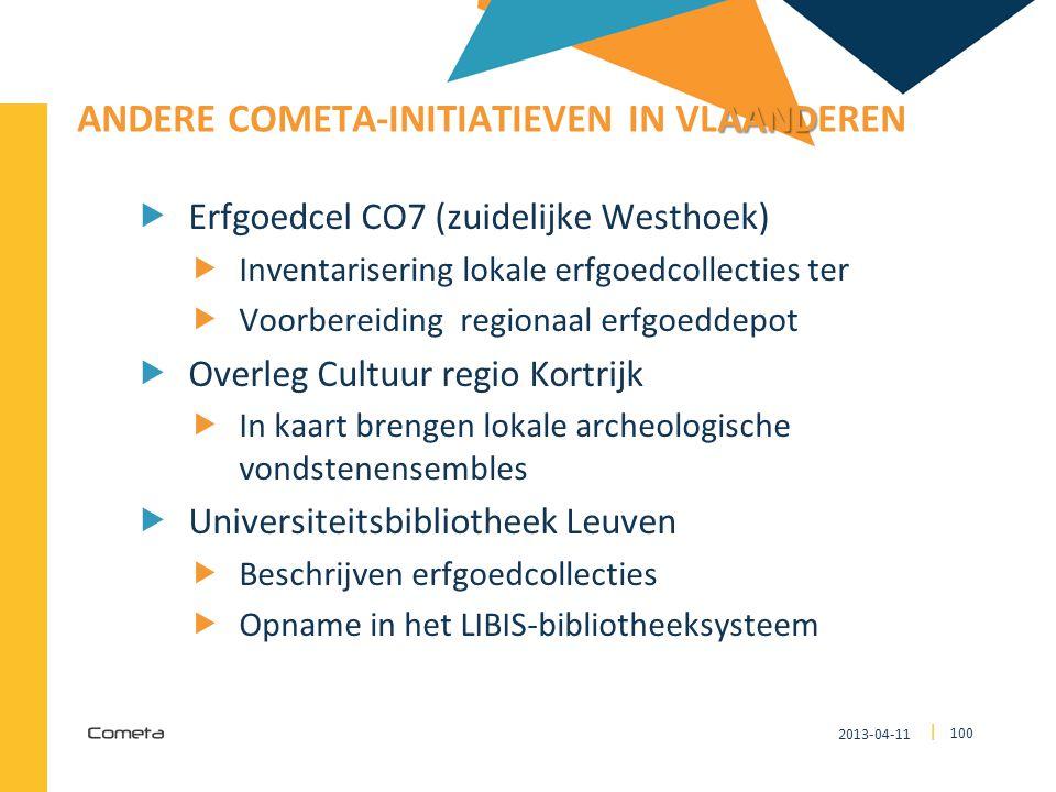 2013-04-11 100 | AAND ANDERE COMETA-INITIATIEVEN IN VLAANDEREN  Erfgoedcel CO7 (zuidelijke Westhoek)  Inventarisering lokale erfgoedcollecties ter 