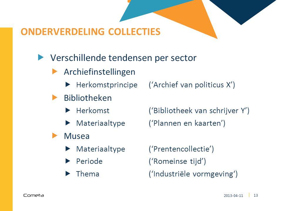 2013-04-11 13 | ONDERVERDELING COLLECTIES  Verschillende tendensen per sector  Archiefinstellingen  Herkomstprincipe ('Archief van politicus X') 