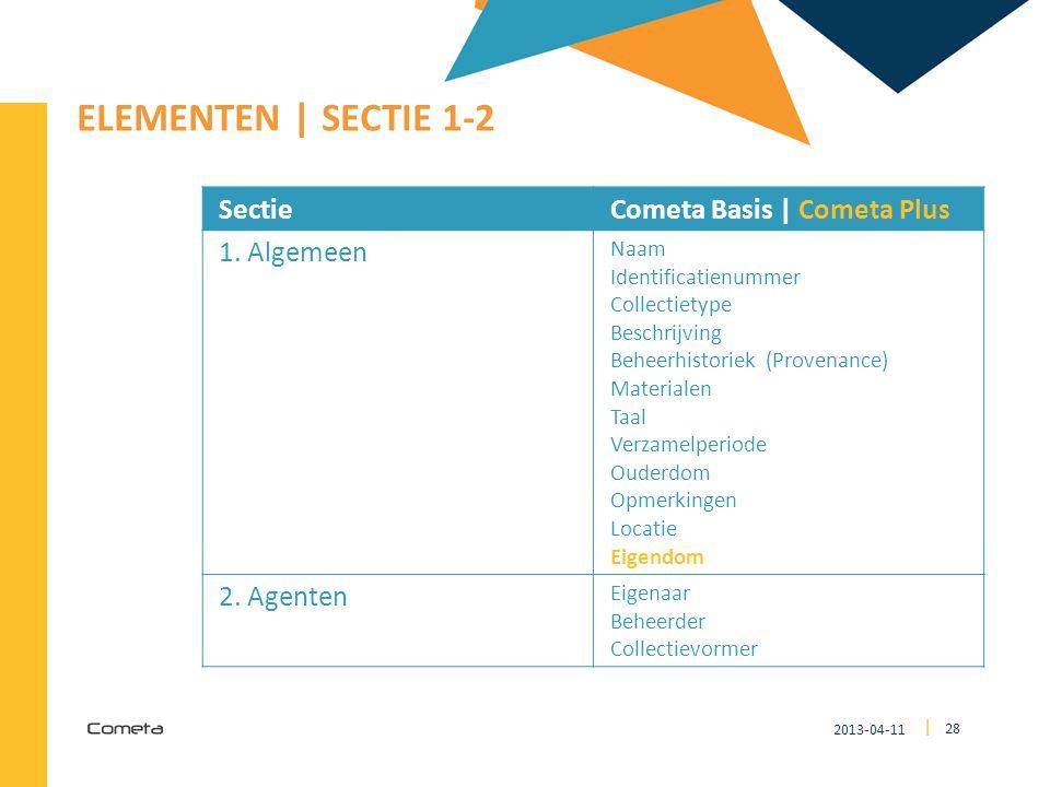 2013-04-11 28 | ELEMENTEN | SECTIE 1-2 SectieCometa Basis | Cometa Plus 1. Algemeen Naam Identificatienummer Collectietype Beschrijving Beheerhistorie