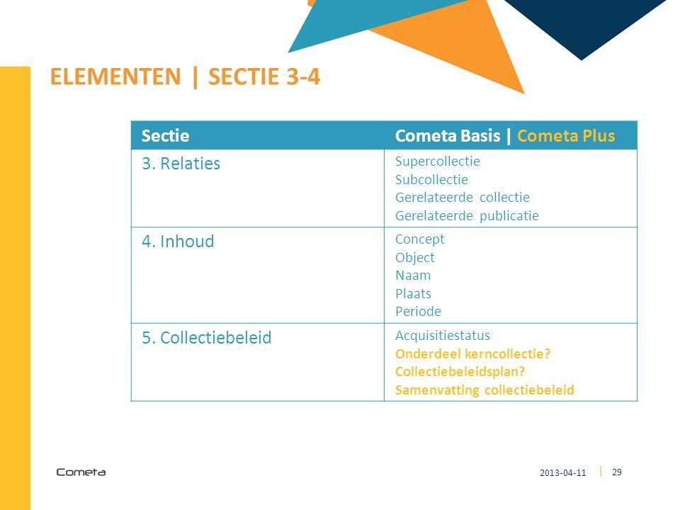 2013-04-11 29 | ELEMENTEN | SECTIE 3-4 SectieCometa Basis | Cometa Plus 3. Relaties Supercollectie Subcollectie Gerelateerde collectie Gerelateerde pu
