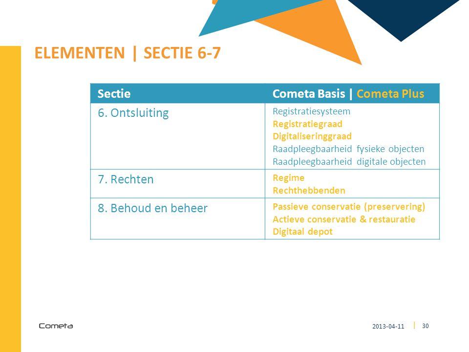 2013-04-11 30 | ELEMENTEN | SECTIE 6-7 SectieCometa Basis | Cometa Plus 6. Ontsluiting Registratiesysteem Registratiegraad Digitaliseringgraad Raadple