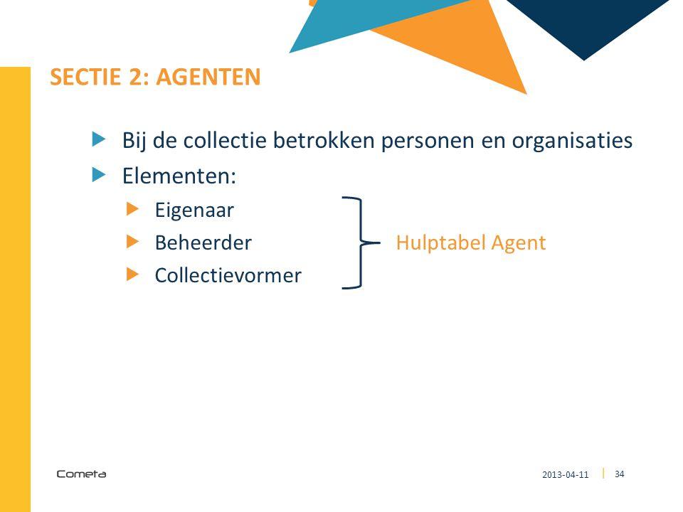 2013-04-11 34 | SECTIE 2: AGENTEN  Bij de collectie betrokken personen en organisaties  Elementen:  Eigenaar  Beheerder Hulptabel Agent  Collecti
