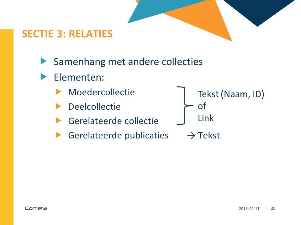 2013-04-11 35 | SECTIE 3: RELATIES  Samenhang met andere collecties  Elementen:  Moedercollectie  Deelcollectie  Gerelateerde collectie  Gerelat