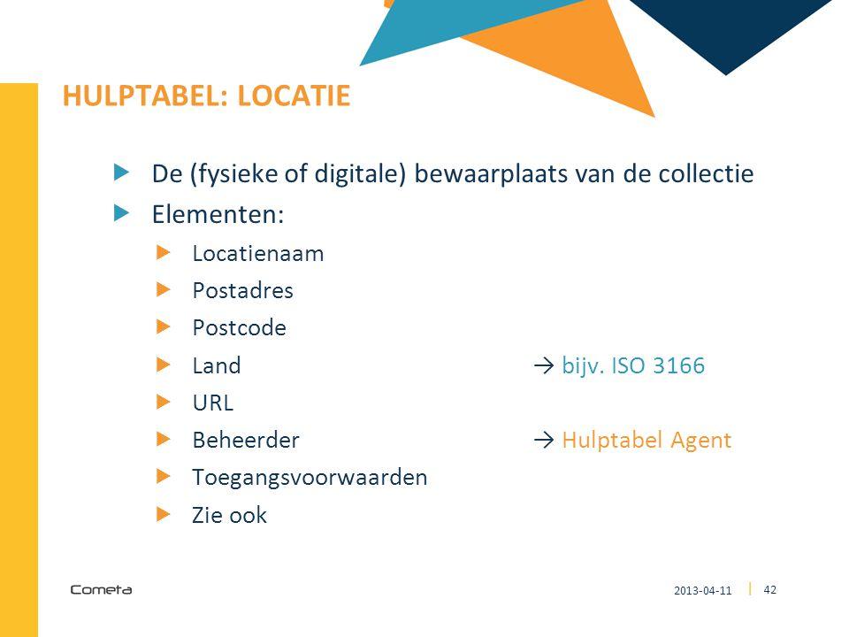 2013-04-11 42 | HULPTABEL: LOCATIE  De (fysieke of digitale) bewaarplaats van de collectie  Elementen:  Locatienaam  Postadres  Postcode  Land →