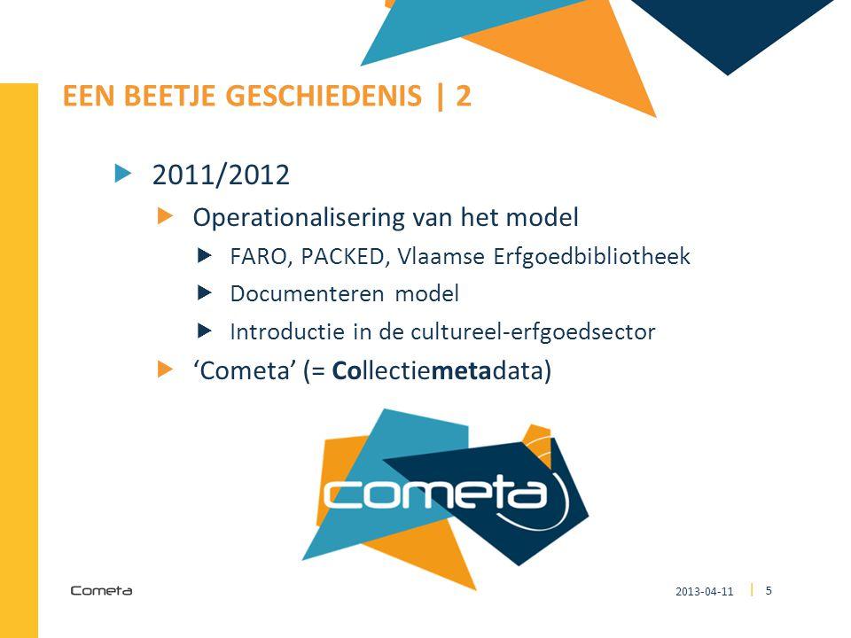 2013-04-11 5 | EEN BEETJE GESCHIEDENIS | 2  2011/2012  Operationalisering van het model  FARO, PACKED, Vlaamse Erfgoedbibliotheek  Documenteren mo