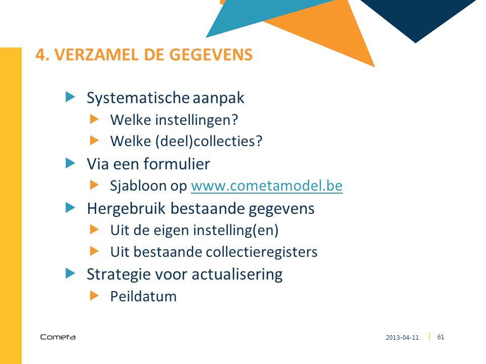 2013-04-11 61 | 4. VERZAMEL DE GEGEVENS  Systematische aanpak  Welke instellingen?  Welke (deel)collecties?  Via een formulier  Sjabloon op www.c