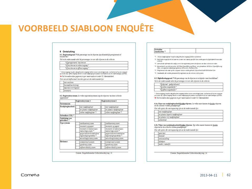 2013-04-11 62 | VOORBEELD SJABLOON ENQUÊTE