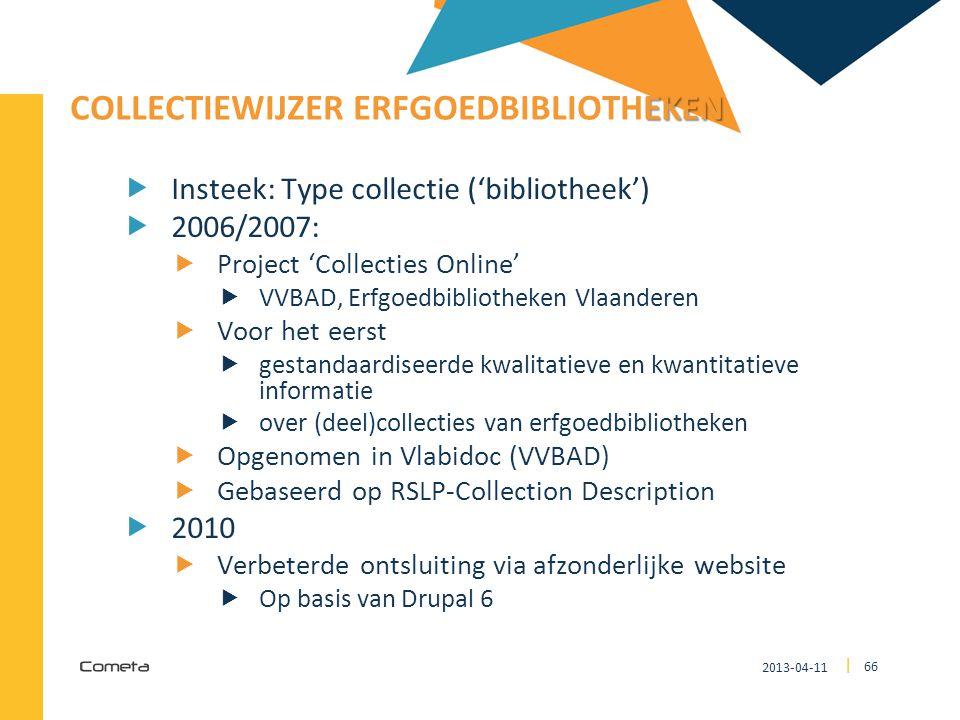 2013-04-11 66 | EKEN COLLECTIEWIJZER ERFGOEDBIBLIOTHEKEN  Insteek: Type collectie ('bibliotheek')  2006/2007:  Project 'Collecties Online'  VVBAD,