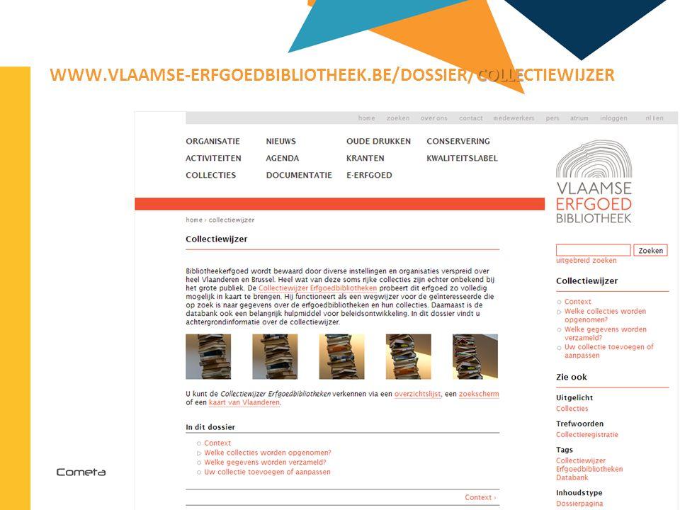 2013-04-11 73 | COLLE WWW.VLAAMSE-ERFGOEDBIBLIOTHEEK.BE/DOSSIER/COLLECTIEWIJZER