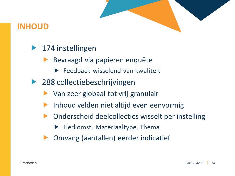 2013-04-11 74 | INHOUD  174 instellingen  Bevraagd via papieren enquête  Feedback wisselend van kwaliteit  288 collectiebeschrijvingen  Van zeer
