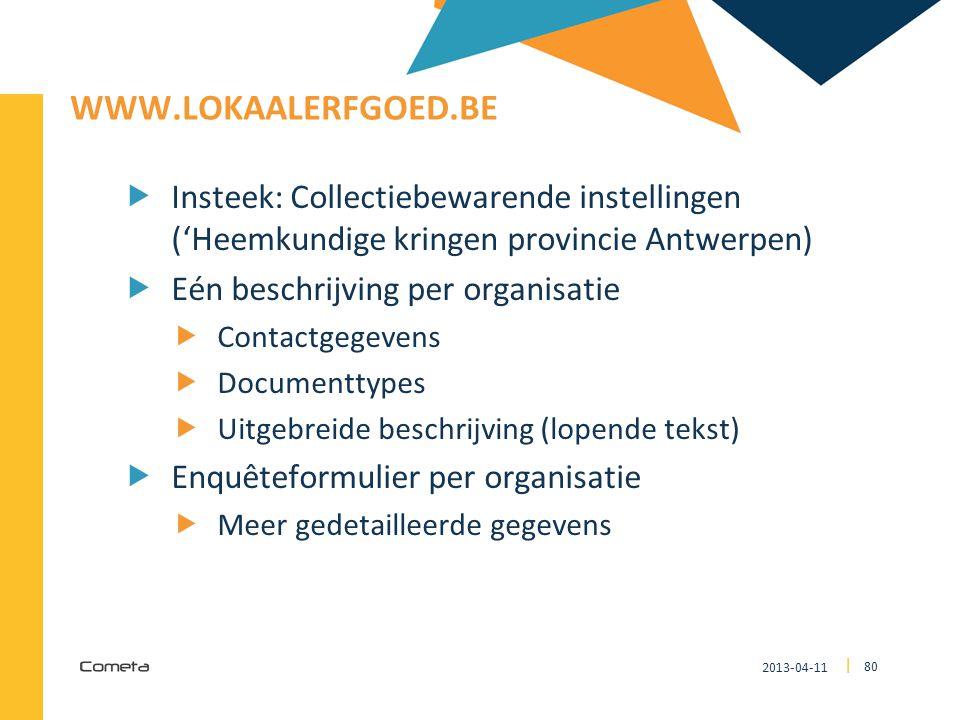 2013-04-11 80 | WWW.LOKAALERFGOED.BE  Insteek: Collectiebewarende instellingen ('Heemkundige kringen provincie Antwerpen)  Eén beschrijving per orga