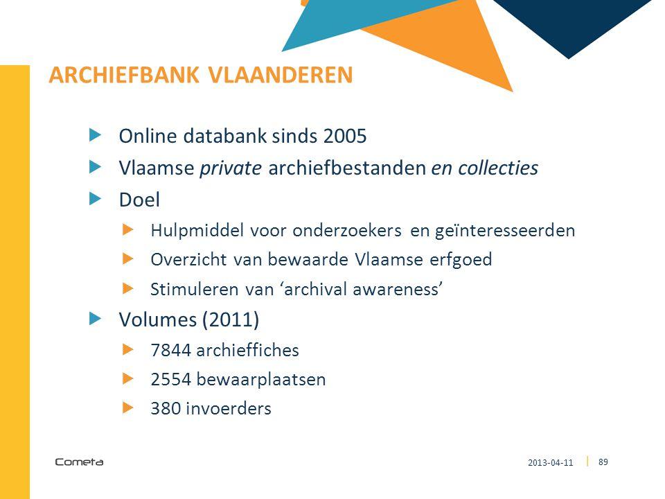 2013-04-11 89 | ARCHIEFBANK VLAANDEREN  Online databank sinds 2005  Vlaamse private archiefbestanden en collecties  Doel  Hulpmiddel voor onderzoe