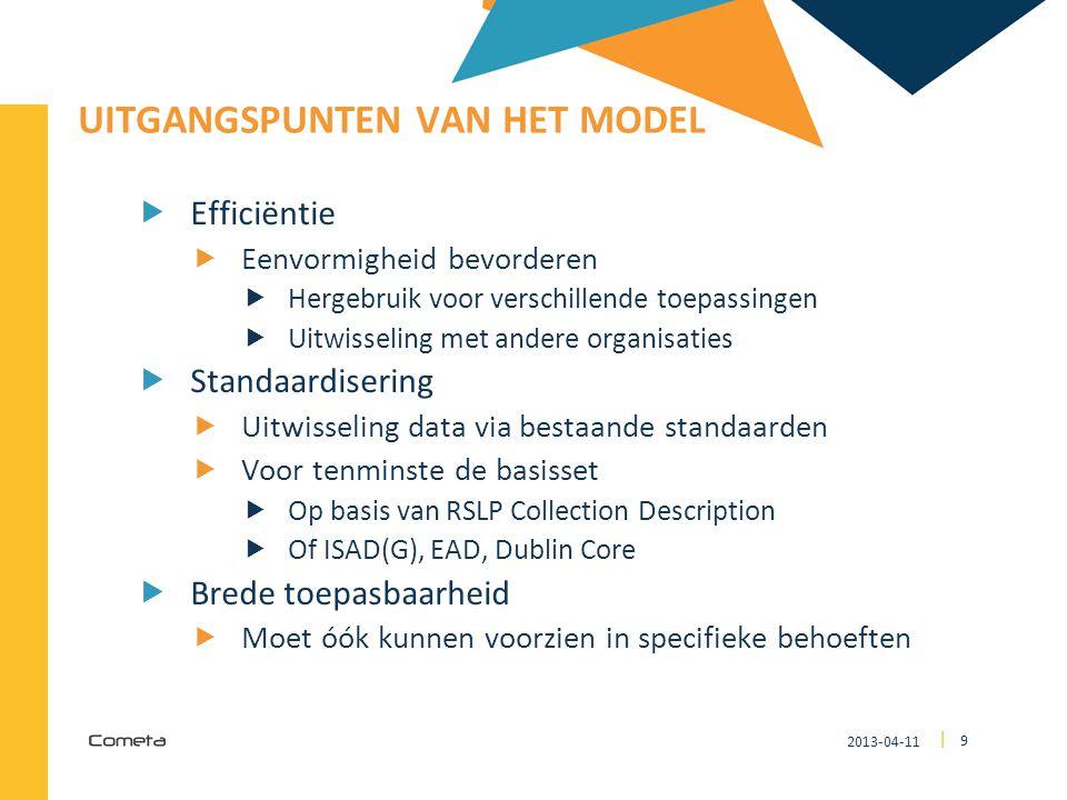 2013-04-11 9 | UITGANGSPUNTEN VAN HET MODEL  Efficiëntie  Eenvormigheid bevorderen  Hergebruik voor verschillende toepassingen  Uitwisseling met a