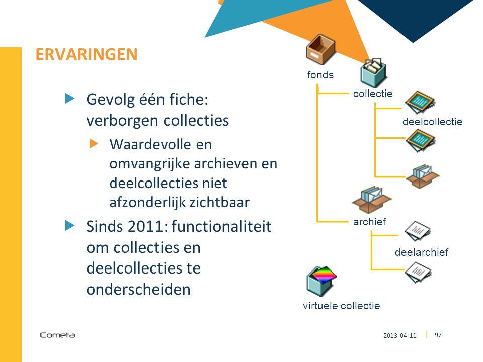 2013-04-11 97 | ERVARINGEN  Gevolg één fiche: verborgen collecties  Waardevolle en omvangrijke archieven en deelcollecties niet afzonderlijk zichtba