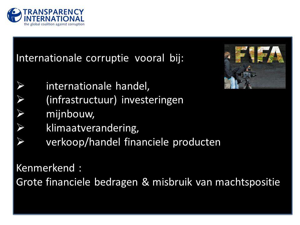 Internationale corruptie vooral bij:  internationale handel,  (infrastructuur) investeringen  mijnbouw,  klimaatverandering,  verkoop/handel fina