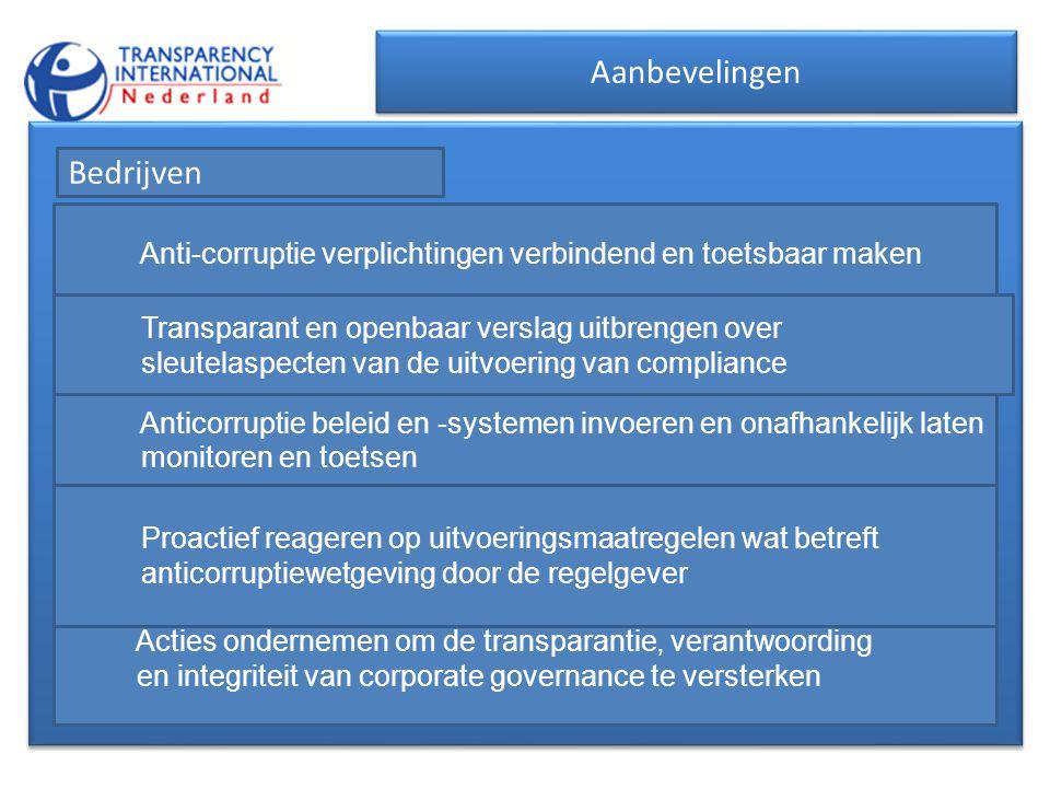 Aanbevelingen Bedrijven Anti-corruptie verplichtingen verbindend en toetsbaar maken Transparant en openbaar verslag uitbrengen over sleutelaspecten va