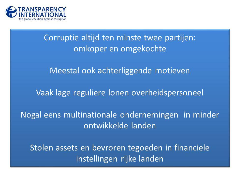Corruptie altijd ten minste twee partijen: omkoper en omgekochte Meestal ook achterliggende motieven Vaak lage reguliere lonen overheidspersoneel Noga