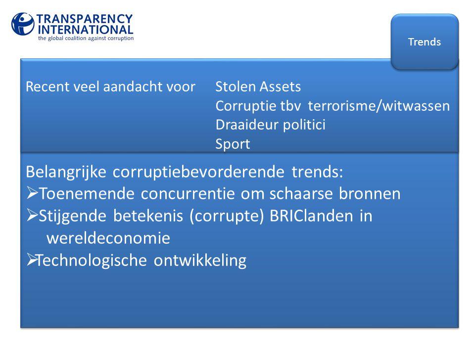 Belangrijke corruptiebevorderende trends:  Toenemende concurrentie om schaarse bronnen  Stijgende betekenis (corrupte) BRIClanden in wereldeconomie